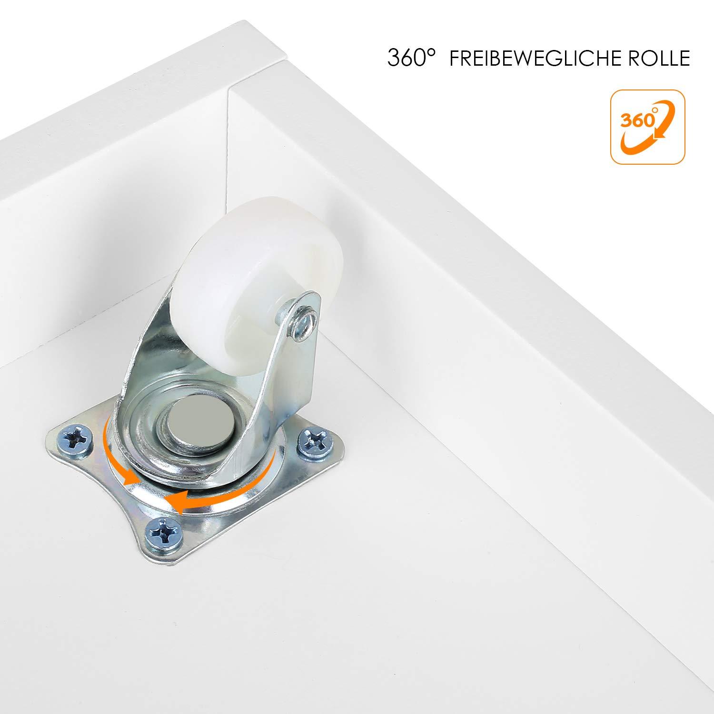 Homfa Meuble /à Jouets Meuble de Rangement pour Chambre denfant avec 3 Tiroirs avec Roues Blanc en Bois 102/×33/×61.5cm