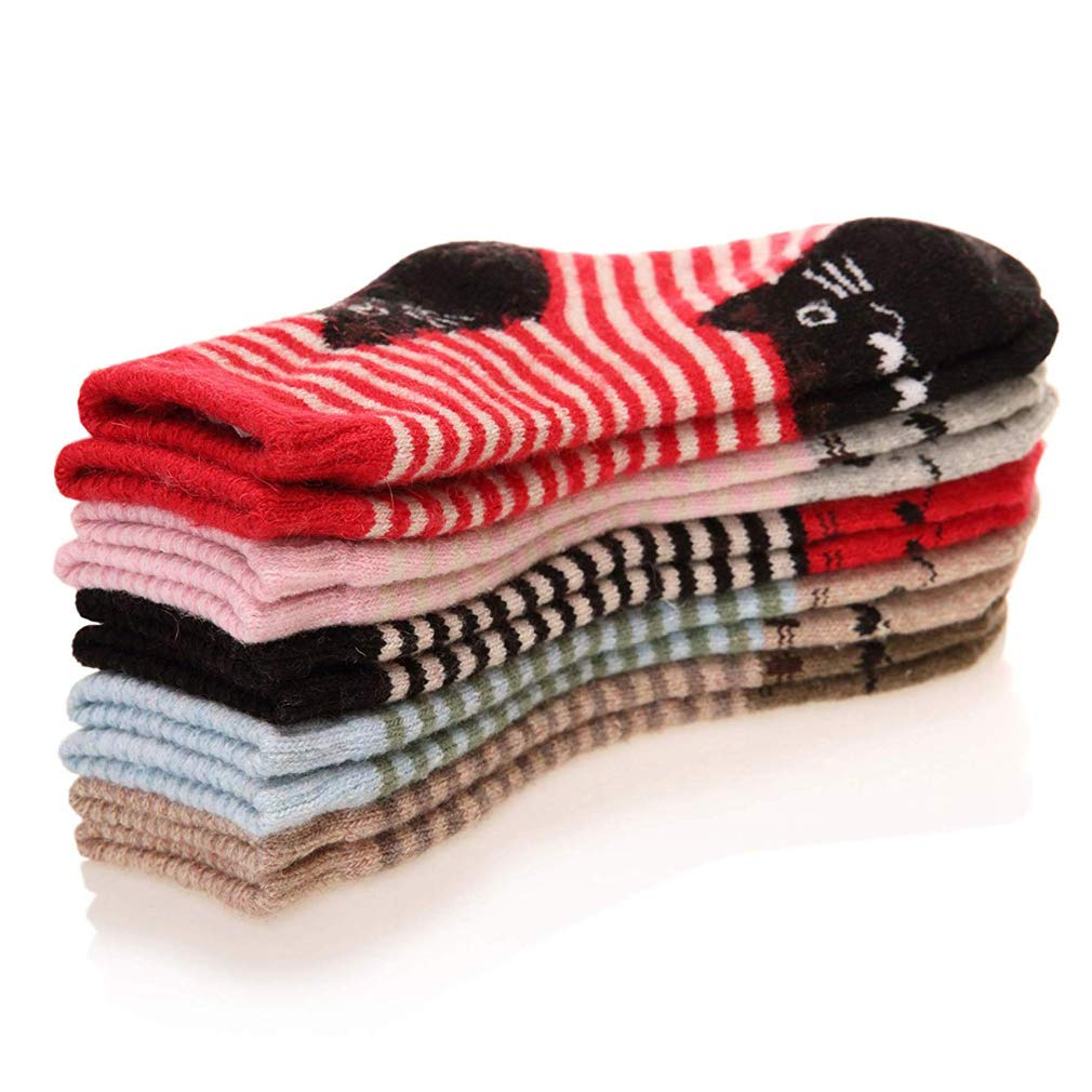 Z-Chen Pack of 5 Pairs Kids Children Girls Winter Warm Wool Crew Socks