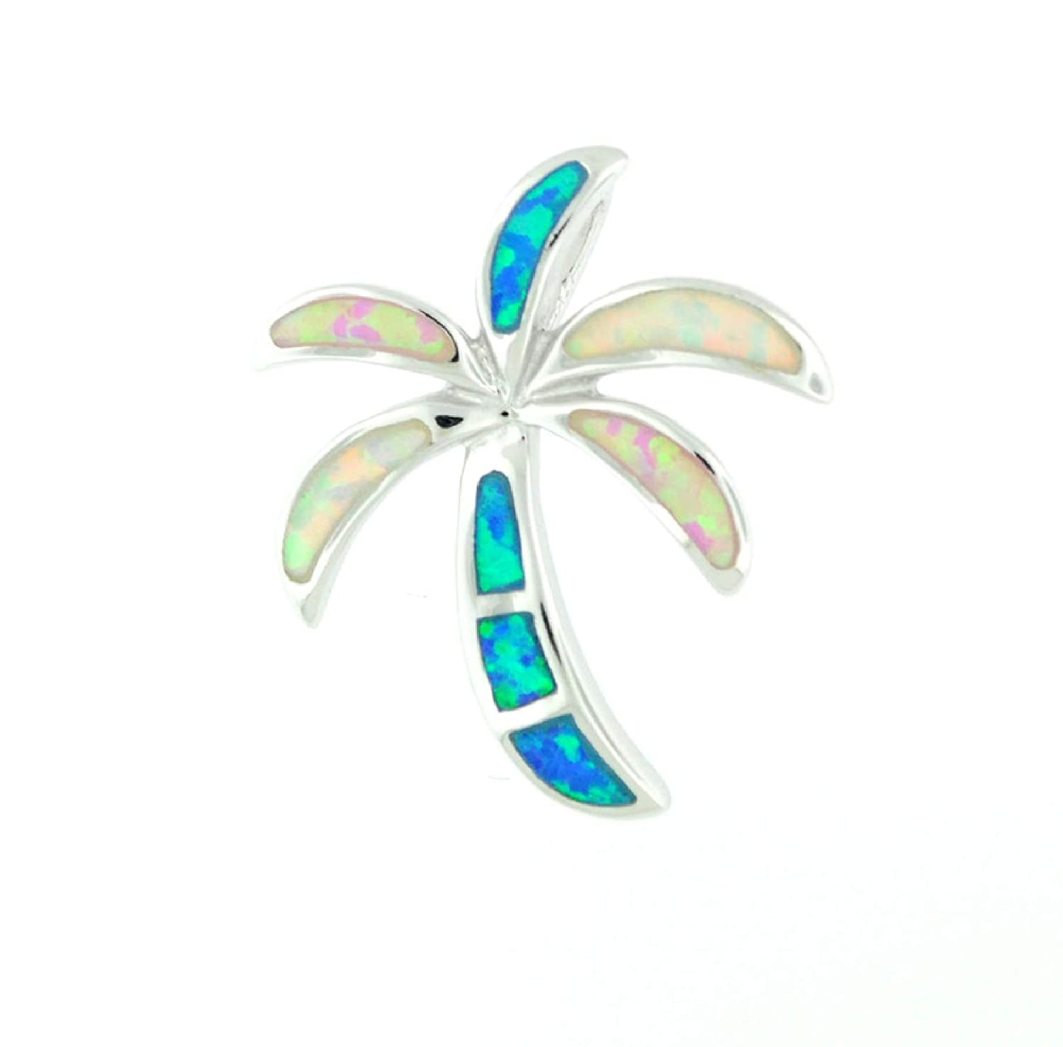 My Prime Gifts 925 Sterling Silver Palm Tree Mulit Color Opal Hawaiian Medium Charm Pendant