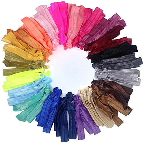 (Hair Ties Ponytail Holders, No Crease Ouchless Knotted Large Elastic Hair Ribbons Hair Accessories Friendship Bracelet, J-MEE(100pcs) (Mixed Color))