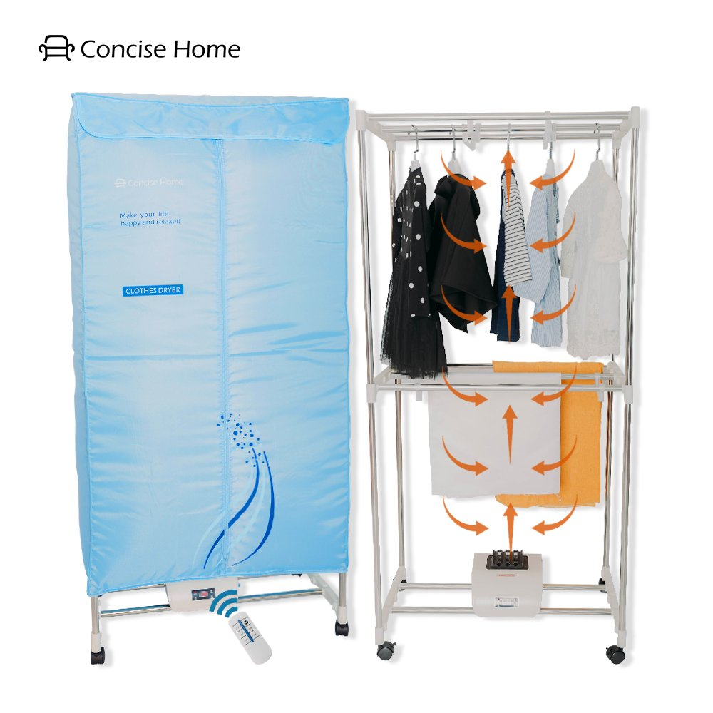 Concise Home Electric Clothes Dryer Stainless Steel Indoors Tri Layers Fast Air Dry Hot Wardrobe Machine drying rack For Home & Dorms by Concise Home
