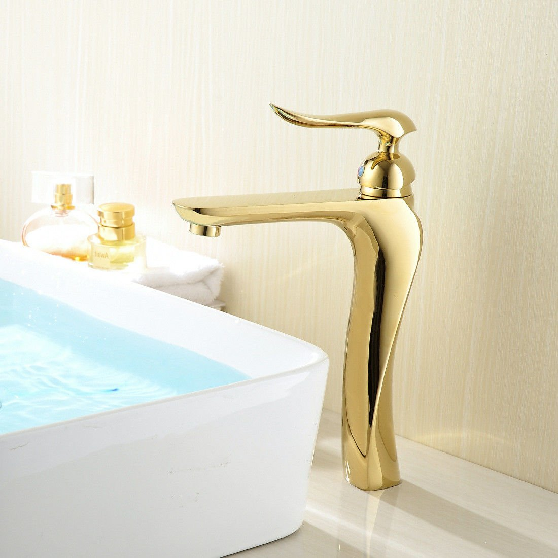 Lpophy Bathroom Sink Mixer Taps Faucet Bath Waterfall Cold and Hot Water Tap for Washroom Bathroom and Kitchen Copper Chrome-Plated gold Long Single Handle Single Hole Water Mixing Single