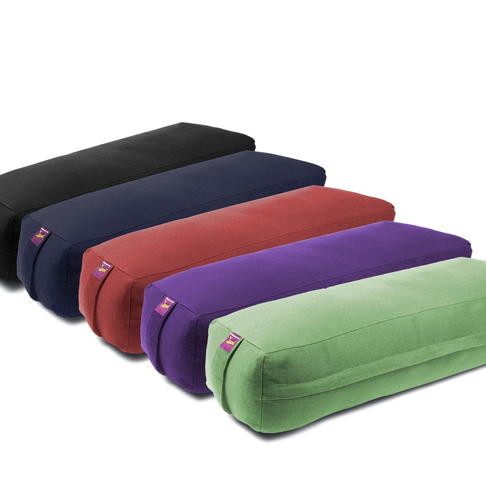 Rectangular Yoga Bolster - Removable Canvas Cover, Natural Cotton Filling by Yogavni(TM) (Black, Long)