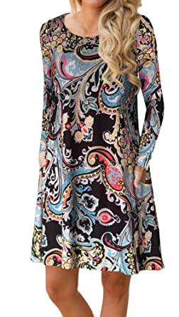 2e6213e6439 ETCYY Women s Long Sleeve Floral Printed Casual Swing T-Shirt Dress with  Pockets