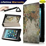 DHZ Folio Case for Amazon Fire HD 8 Tablet(2017 and 2016 Release,7th/ 6th Generation) - Ultra Lightweight Smart Cover Slim Tri-fold Stand Leather Case with Auto Wake / Sleep,World Map