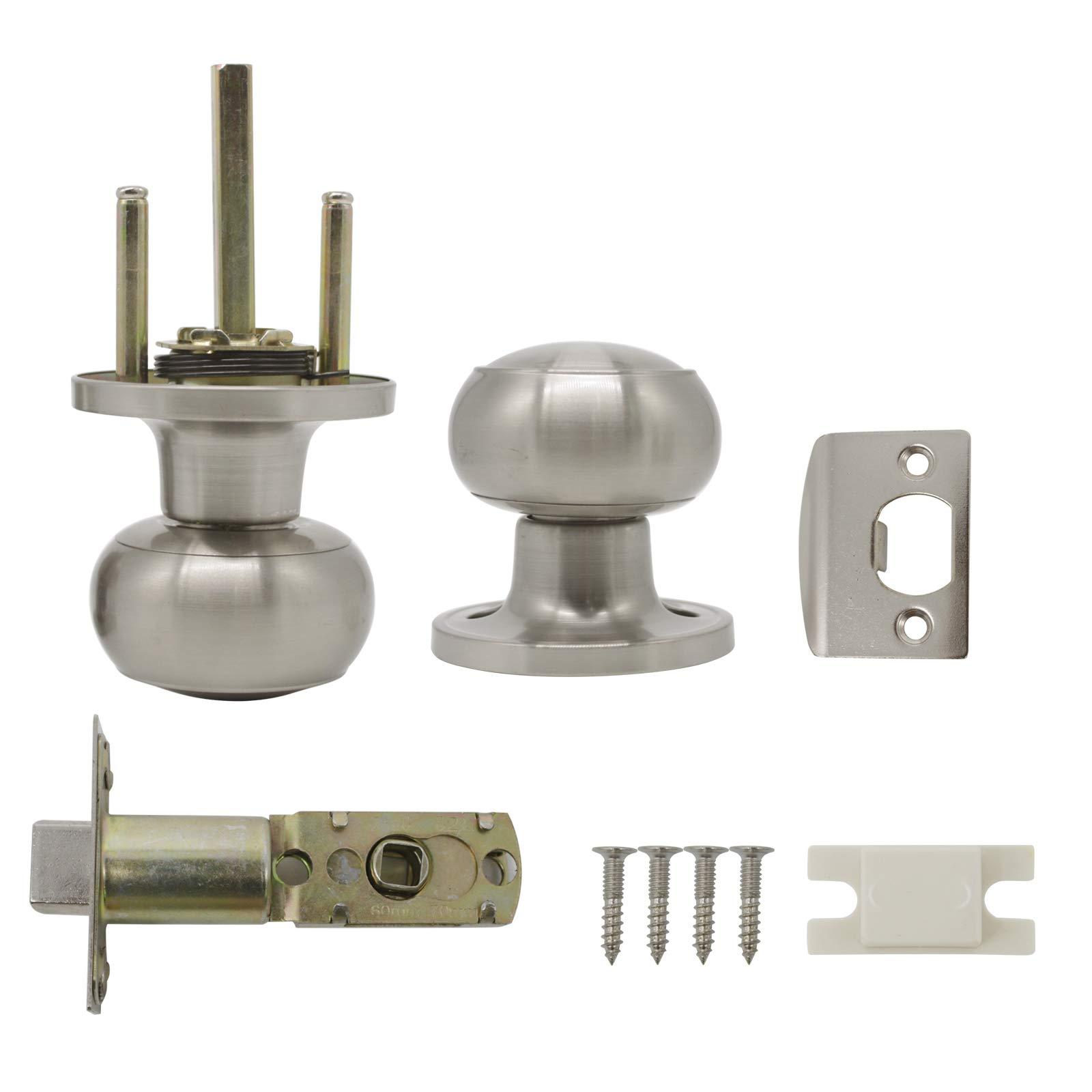 8 Pack Probrico Interior Passage Keyless Door Knobs Door Lock Handle Handleset Lockset Without Key Doorknobs Satin Nickel for Hall/Closet-Door Knob 609 by Probrico (Image #5)