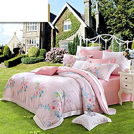 Tencel Four Set Pastoral Style Four Piece 1Quilt Cover 1 Bed Sheets 2pillowslip B Queen1