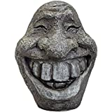 Bits and Pieces-Big Stone Smiley Face-Polyresin Garden Statue - Perfect Ornament For Your Garden, Porch or Patio