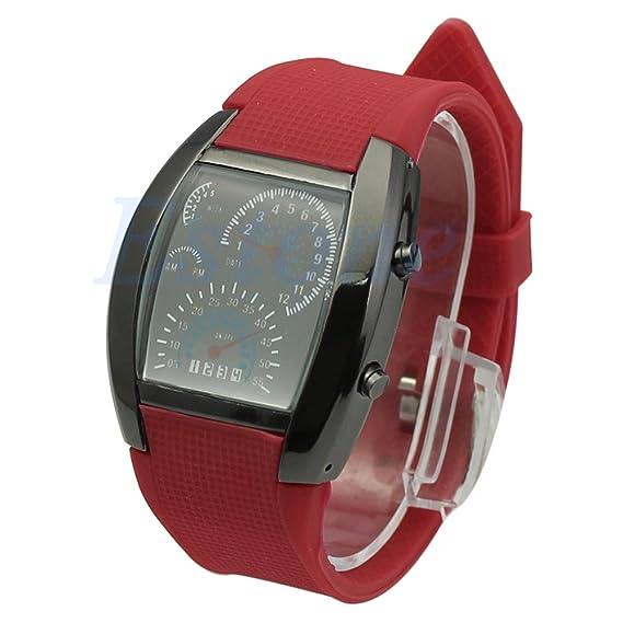 Elegante rojo negro RPM Chic Turbo azul Flash LED coche medidor Dial reloj de pulsera deportivo: Amazon.es: Relojes