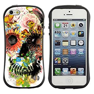 Hybrid Anti-Shock Bumper Case for Apple iPhone 5 5S / Colorful Flowers
