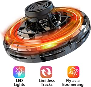 Flying Spinner Toy for Kid Adult, Hand Operated Boomerang for Office Outdoor, Shinning LED Lights & Drop Proof & Fast Charging & Easy to Operated, Great Gift for All Ages