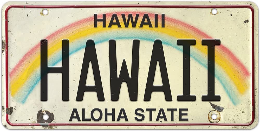 Pacifica Island Art 6in x 12in Vintage Hawaiian Embossed License Plate - Hawaii