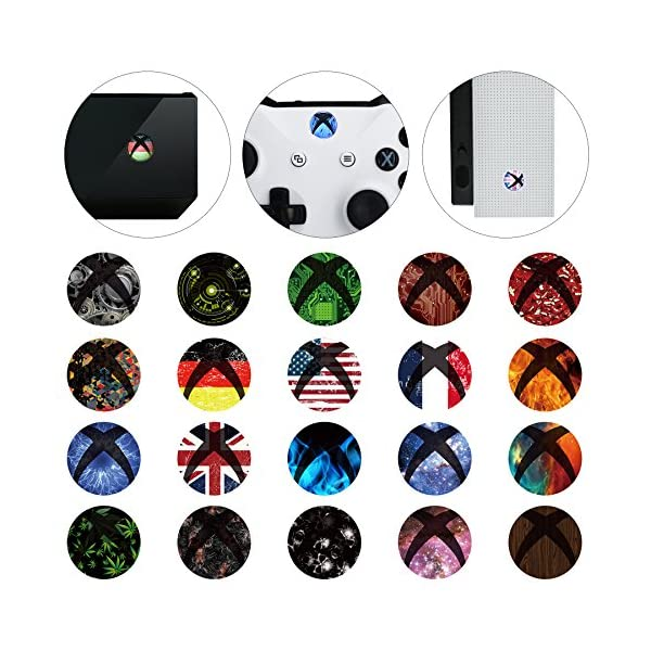 eXtremeRate 60 pcs Custom Home Button Power Switch Stickers Skin Cover for Xbox Series X/Xbox Series S/Xbox One/One X… 1