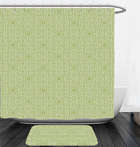 Nalahome Bath Suit: Showercurtain Bathrug Bathtowel Handtowel Geometric Complex Detailed Nested Sqare and Line Pattern on Green Background Pistachio Green and - Sqare Fashion