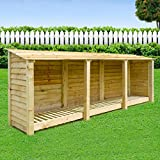 EMPINGHAM WOODEN LOG STORE/GARDEN STORAGE, 11ft WIDE X 4ft HIGH, GREEN, HEAVY DUTY, HAND MADE, PRESSURE TREATED.
