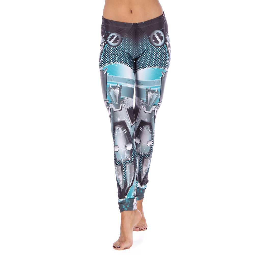 Alexandra Collection Womens Robots Activate Moisture-Wicking Athletic Workout Leggings Cybernetic Medium by Alexandra Collection