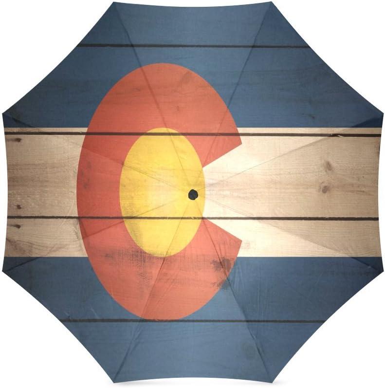 Custom Colorado State Flag Compact Travel Windproof Rainproof Foldable Umbrella