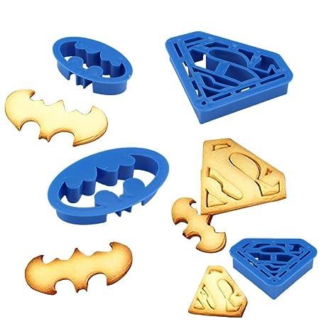 Anokay 4 pcs Set de Moldes Galletas de Superhéroes Superman y Batman para Niños- Cortapastas