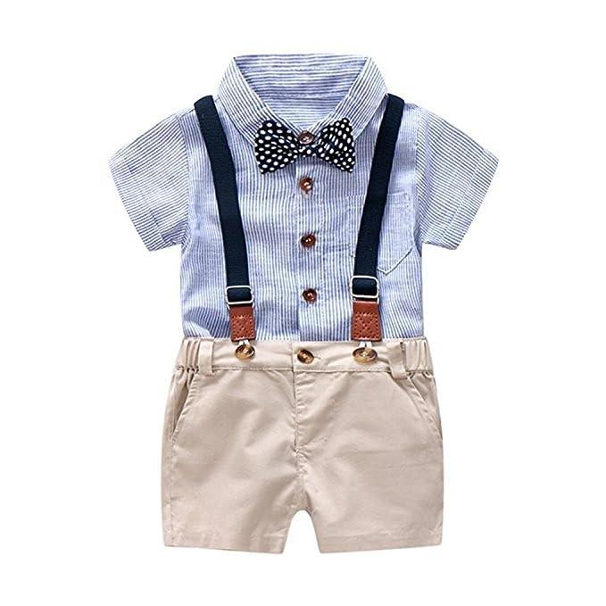 Conjunto Niños Bebés, Verano Gentleman Bowtie Camiseta de Manga Corta + Pantalón Corto de