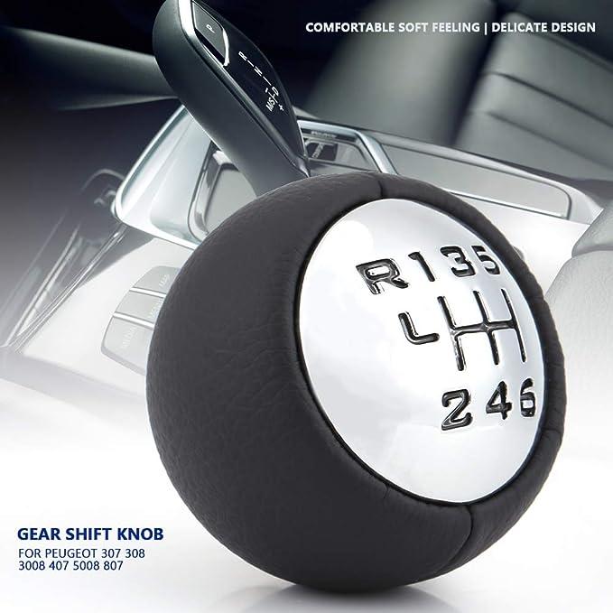KIMISS 6-Velocidad Pomos de palanca de cambios de marchas del Coche Gear Shift Head para 307 308 3008 407 5008 807 C3 C4 C8