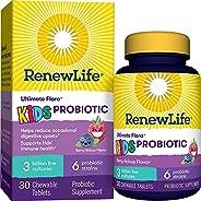 Renew Life Ultimate Flora Kids Probiotics 3 Billion CFU Guaranteed, 6 Strains, Shelf Stable, Gluten Dairy &