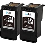LxTek Remanufactured Ink Cartridge Replacement For Canon PG-245XL PG-245 245XL 245 XL (2 Black) High Yield For PIXMA iP2820 MG2420 MG2920 MG2922 MG2924 MX492 Printer - Shows Accurate Ink Level