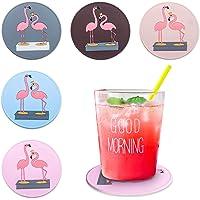 MissRui Set of 5 Flamingo Coasters Silicone Anti-Slip Coasters for Drinks Anti-Scalding Heat Insulation