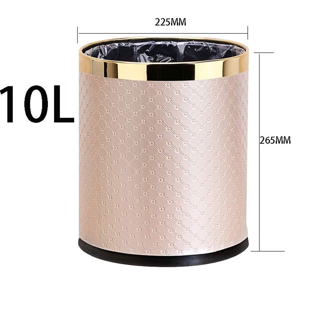 桶、圆石のパターン金色の円形10L大型二層家庭用客卧室厨房露天垃圾桶 (Color : Khaki) B07RY766DB Khaki