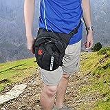 Fanny Pack, DEWEL Nylon Sports Racing Drop Leg Bag Outdoor Motorcycle Cycling Hiking Travel Tactical Waist Pack with Waist Belt Bike Hip Bag—Black
