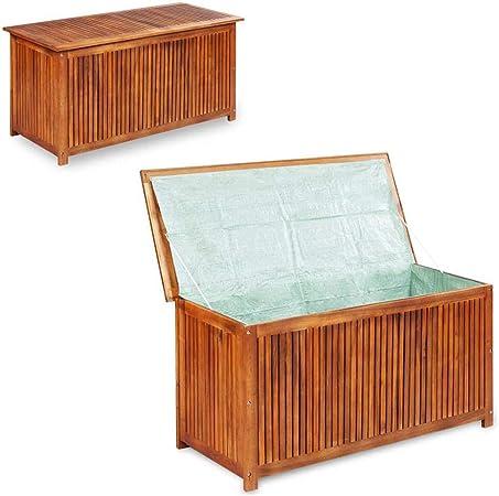 Baúl de jardín 150 x 50 x 58 cm de madera maciza de acacia maciza de acacia, baúl de exterior con revestimiento impermeable: Amazon.es: Hogar