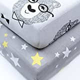 100% Jersey Cotton Crib Sheets Top Quality Nursery Bedding for Boy 2 Pack Soft Baby Shower Gift in Gray with Grizzlies and Yellow Stars Reviews