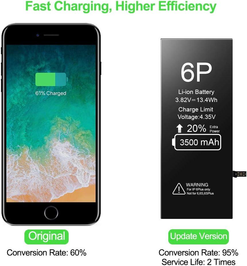 Bater/ía de Repuesto para iPhone 6 Plus EVARY 3500mAh Bater/ía Recargable de pol/ímero de Litio de Alta Capacidad y 0 ciclos con Kit Completo de Herramientas de reparaci/ón Compatible con iPhone 6P