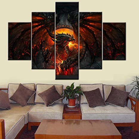 Amazon Com Contemporary Wall Art Fire Medieval Dragon Pictures Deathwing Artwork For Living Room Multi Panel Prints On Canvas Black Animal Paintings House Decor Framed Gallery Wrapped Ready To Hang 60 Wx 40 H Posters Prints
