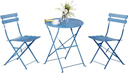 Grand Patio 3 Piece Bistro Set Weather Resistant Folding Table And Chairs Indoor Outdoor Furniture Set Blue Garden Outdoor