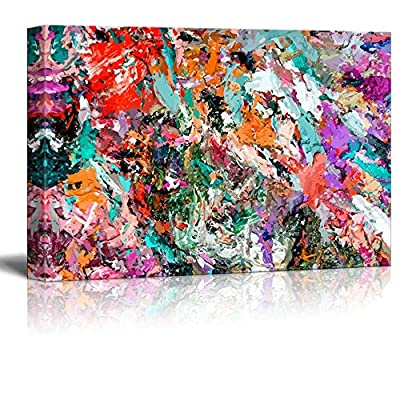 Canvas Prints Wall Art - Abstract Dirty Acrylic Paint Grunge Art | Modern Wall Decor/Home Decoration Stretched Gallery Canvas Wrap Giclee Print & Ready to Hang - 24