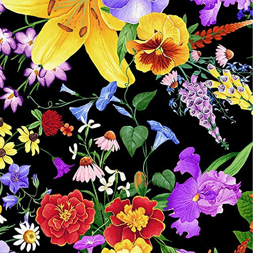 Timeless Treasures Fabrics Wild Meadow Multi Lily and Pansy Bouquet