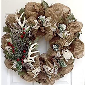 Deer Antlers Winter Holiday Wreath With Iced Greenery Handmade Deco Mesh 1