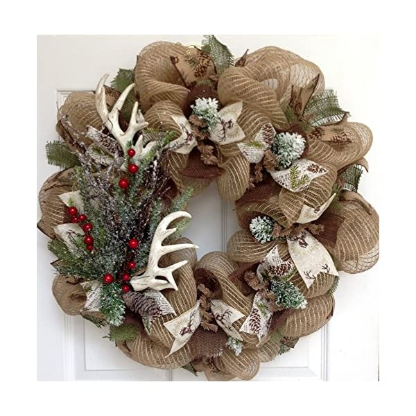 Deer Antlers Winter Holiday Wreath With Iced Greenery Handmade Deco Mesh