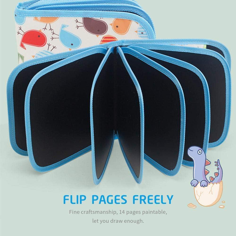 bloc-notes /à dessin effa/çable avec 12 stylos de couleur et lingettes OOOUSE Tableau /à dessin r/éutilisable pour enfants livre de graffiti double face pour enfants 20,3 x 20,3 cm 14 pages