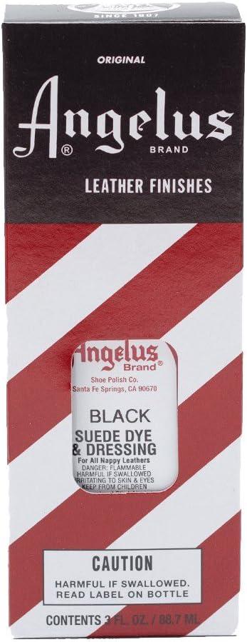 Angelus Suede Dye - Tinte para piel de ante, napa, nobuk, diferentes colores, 88 ml negro