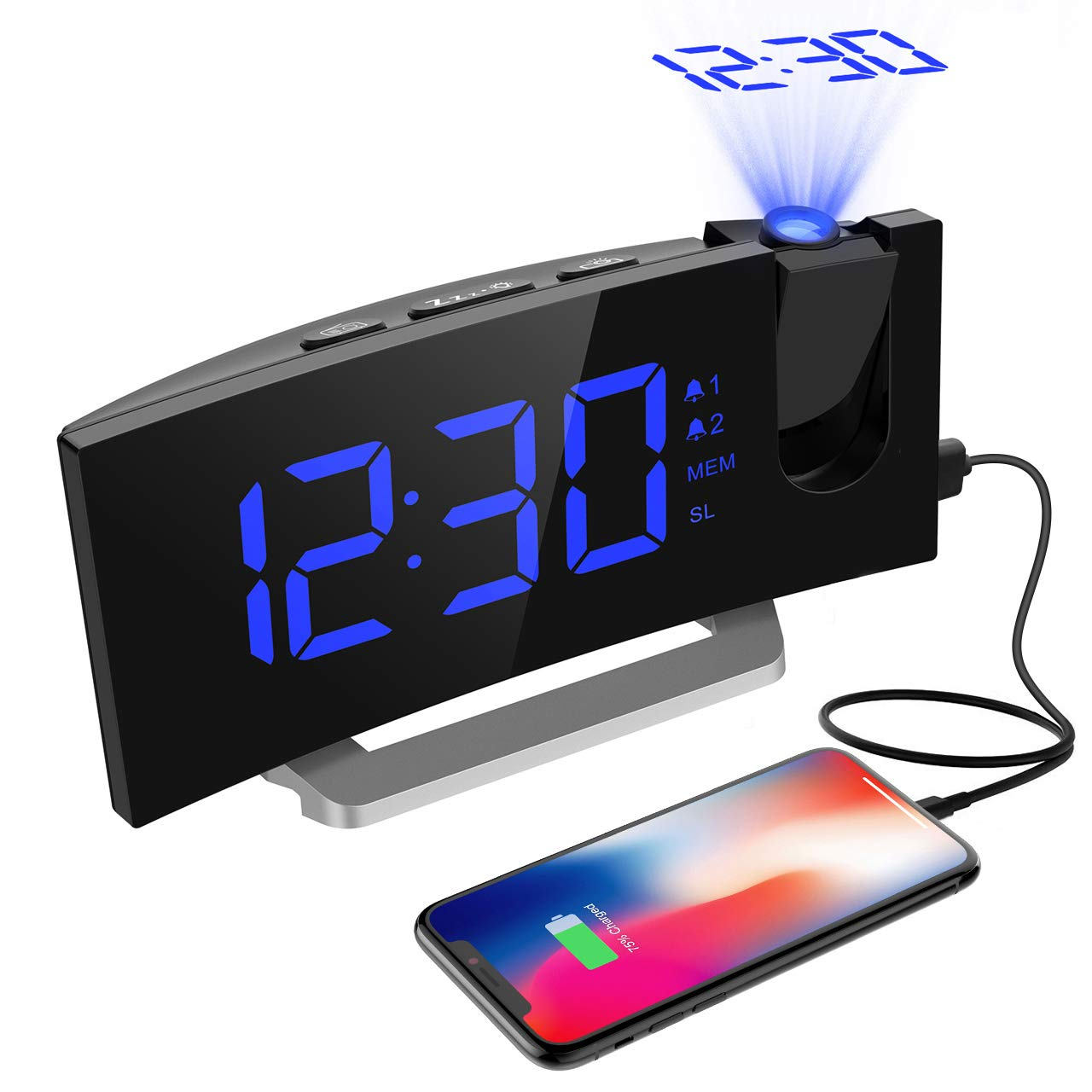 Alarm Clocks,[ Newest Version ] 5'' LED Curved-Screen Projection Clock with Dual Alarms, Digital FM Radio Clock with USB Charging Port, Snooze Function, Sleep Timer with Dimmer,12/24 Hour -Blue Aitop