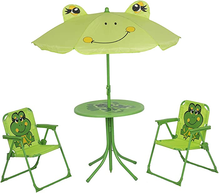 Elnsivo Kids Folding Picnic Table and Chairs Set with Removable Beach Umbrella Mini Camping Table Set with 2 Frog Pattern Chairs Sunshade for Children Outdoor Garden Beach Patio Use(Frog Cartoon)