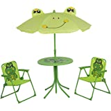 Elnsivo Kids Folding Picnic Table and Chairs Set with Removable Beach Umbrella Mini Camping Table Set with 2 Frog…