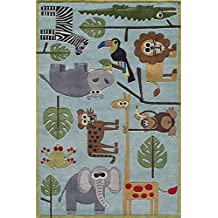 Momeni Rugs LMOJULMJ19BLU3050 Lil' Mo Whimsy Collection, Kids Themed Hand Carved & Tufted Area Rug, 3' x 5', Blue
