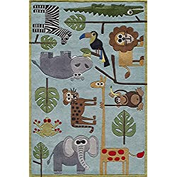 Momeni Rugs LMOJULMJ19BLU3050 Lil' Mo Whimsy Collection, Kids Themed Hand Carved & Tufted Area Rug, 3' x 5', Multicolor Jungle Animals on Blue