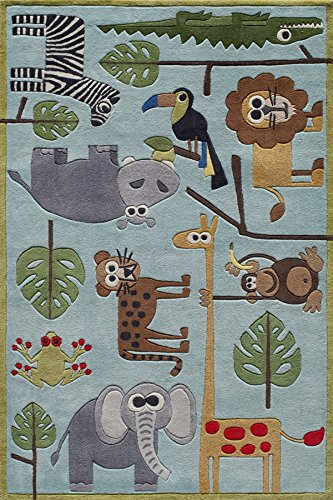Momeni Acrylic Rug - Momeni Rugs LMOJULMJ19BLU4060 Lil' Mo Whimsy Collection, Kids Themed Hand Carved & Tufted Area Rug, 4' x 6', Multicolor Jungle Animals on Blue