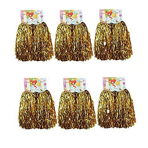 CRIVERS 12pc Cheerleader Pompoms for Ball Dance Fancy Dress Night Party Sports (Gold) (Dresses Party Night)