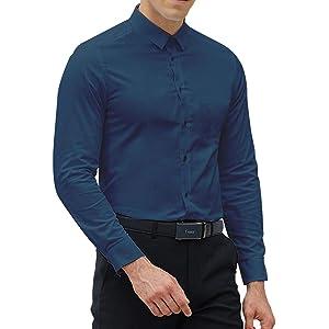 04d920c36d Amazon.com: Black Slim Fit Dress Shirts for Men Long Sleeve 1044-1 ...