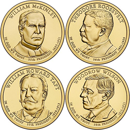 One Dollar Gold Coin - 2013 P Complete Set of all 4 Presidential Dollars Uncirculated