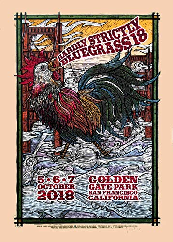 Hardly Strictly Bluegrass Poster 2018 Orig Silkscreen Signed by Gary Houston Includes Signed COA
